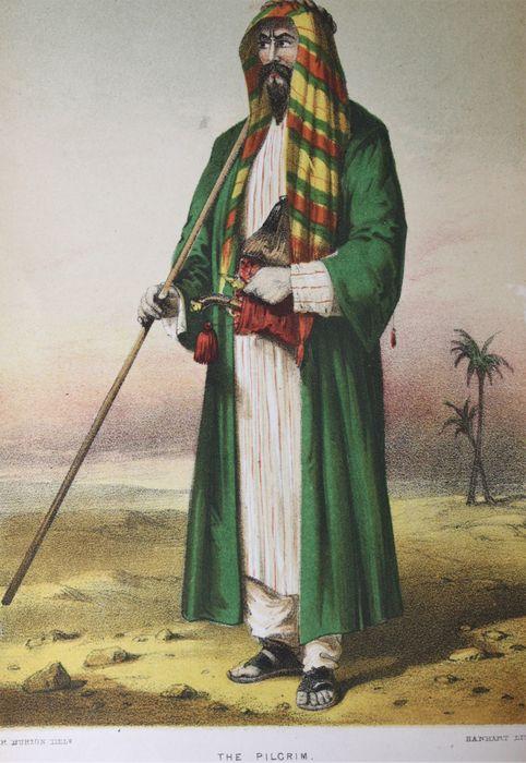 El Peregrino Burton como Abdullah. Litografia de Hanhart basada en un dibujo de Burton.